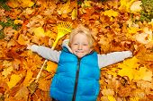 Happy blond boy laying on the autumn leaves