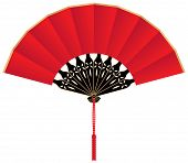 Red Silk Chinese Fan
