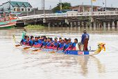 Unidentified Dragon Boat Teams In Rayong River, Thailand.