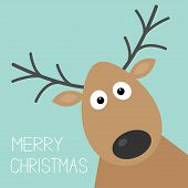 Cute cartoon deer face with horn Merry christmas background card Flat design