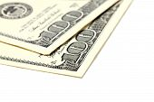 stock photo of two dollar bill  - Two bills of one hundred dollar - JPG