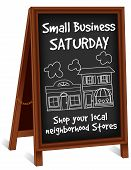stock photo of local shop  - Small Business Saturday sidewalk chalk board sign - JPG