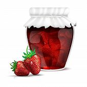 Strawberry Jam In A Jar And Fresh Strawberries