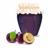 Plum Jam In A Jar And Fresh Plums