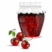 Cherry Jam In A Jar And Fresh Cherries
