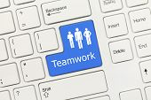 White Conceptual Keyboard - Teamwork (blue Key)