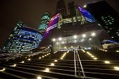 Facade Of Modern Office Building At Night, Skyscraper In Moscow