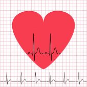 Heart Icon With Electrocardiogram On Grid Background