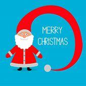 Santa Claus. Big hat. Merry Christmas card.