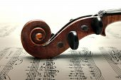 Pegbox And Scroll Of Violin On Music notes