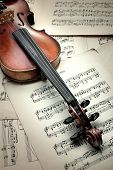 Old Scratched Violin On Music notes