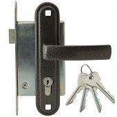 Door lock with handle and keys