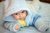 Child in blue wear