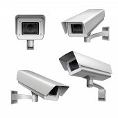 image of decorative  - Surveillance camera safety home protection system decorative set isolated vector illustration - JPG