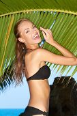 Sexy young woman in a black bikini on a tropical beach laughing as she stands in front of a fresh green palm frond  ocean backdrop