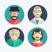 Illustration Of Flat Design. Men Icons.