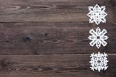 Christmas Border - Wooden Background With Snowflakes