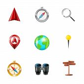Navigation icons realistic set