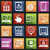 Mobile banking icons white