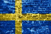 Swedish Flag Over Old Wall