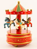 stock photo of paint horse  - red merry-go-round old  horse carillon wooden carouse