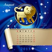 Simple monthly page of 2015 Calendar with gold zodiacal sign against the blue star space background. Design of August month page with Leo figure