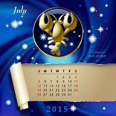 Simple monthly page of 2015 Calendar with gold zodiacal sign against the blue star space background. Design of July month page with Cancer figure