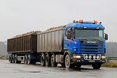Blue Scania 164G Trailer Truck Hauls Sugar Beet