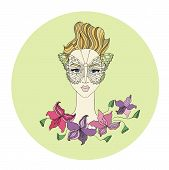 illustration of female face with butterfly and flowers