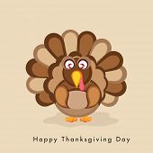 Thanksgiving Day celebration with turkey bird and stylish text on beige background.