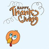 foto of give thanks  - Happy Thanks Giving Day celebration with stylish text and turkey bird - JPG