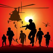 stock photo of attack helicopter  - Helicopter is dropping the troops - JPG
