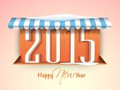 Happy New Year celebrations concept with stylish 2015 text board under awning on shiny pink background.