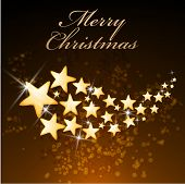 Elegant greeting card design for Merry Christmas celebration decorated with shining stars on stylish brown background.