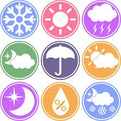 Weather Vector Icons on a Colored Background