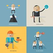 Set of flat design concepts for business