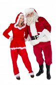 Santa and Mrs Claus smiling at camera on white background