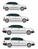 Set Icons Passenger Cars With Different Bodies Vector Illustration