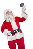 Happy santa ringing a bell on white background