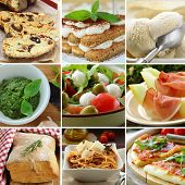 collage menu Italian food pyramid (desserts, salads, pizza and pasta)