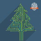 Abstract christmas tree metro scheme illustration. Greeting card