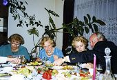 Vintage photo of family party - early nineties