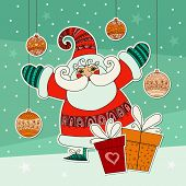 Christmas illustration with funny Santa Claus and gifts. Colorfu
