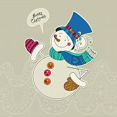Funny snowman card. Merry Christmas card. Design template. Vecto
