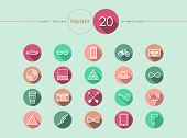 Hipster Flat Icons Set