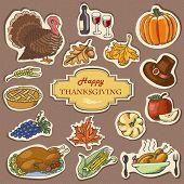 Set Of Sketch Doodle Thanksgiving Label. Hand Draw Vector Illustration