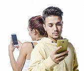 Young Couple With Phone Addiction