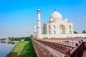 The Taj Mahal on the bank of river Yamuna
