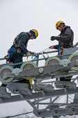 SOCHI, RUSSIA - DECEMBER 12, 2013: Workers repairing the ski lift in mountain resort