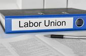 Blue folder with the label Labor Union